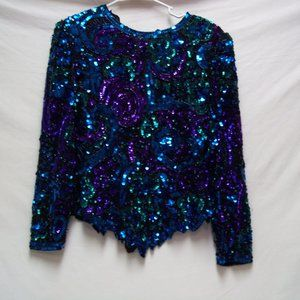 Blue Sequin  Dress Shirt Size Large